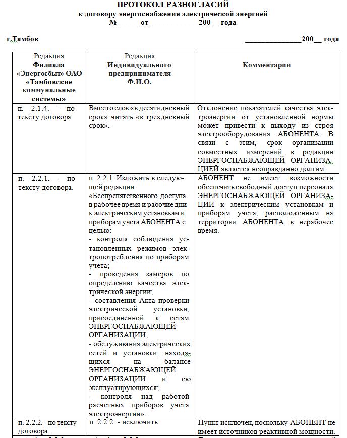 процедура составления договора с протоколом разногласий